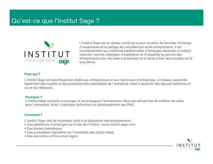Institut Sage - Réseau social pour les entrepreneurs  Slide 2