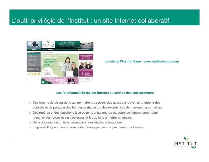 Institut Sage - Réseau social pour les entrepreneurs  Slide 3