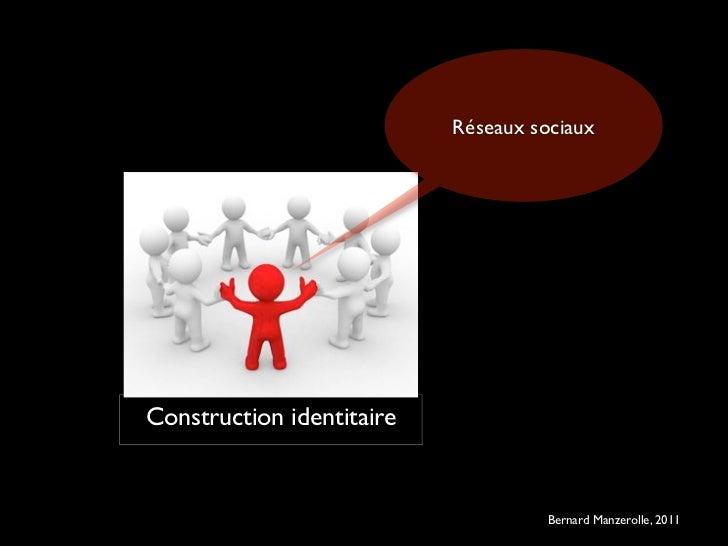 Réseaux sociauxConstruction identitaire                                   ©   Bernard Manzerolle, 2011