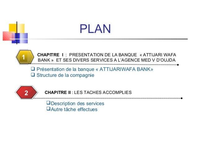 PLAN CHAPITRE I : PRESENTATION DE LA BANQUE « ATTIJARI WAFA BANK » ET SES DIVERS SERVICES A L'AGENCE MED V D'OUJDA1  Prés...