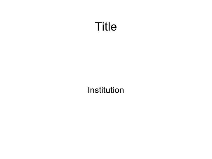 Title Institution