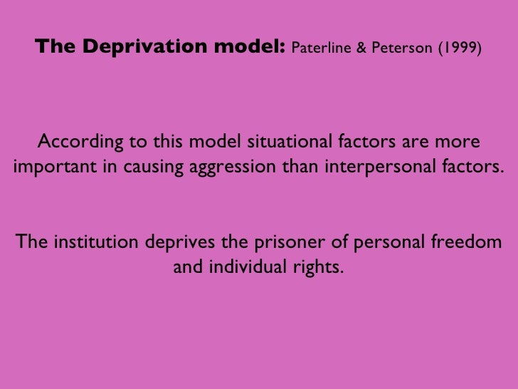 institutional aggression Institutional aggression - applied slide2 what would you do there has been an increase in the  amount of prisoner on prisoner violence in b  wing, ever since they moved sex offenders into the wing 1) why has violence increased 2) as the prison governor, what should you do about it.