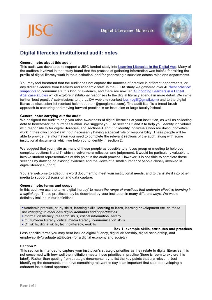 Digital literacies institutional audit: notes General note: about this audit This audit was developed to support a JISC-fu...