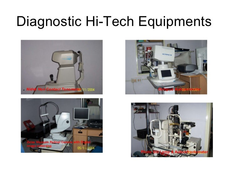 Diagnostic Hi-Tech Equipments .  Nidek Non Contact Tonometer   Octopus Autoperimeter  Zeiss Visucam Retinal Camera with Di...