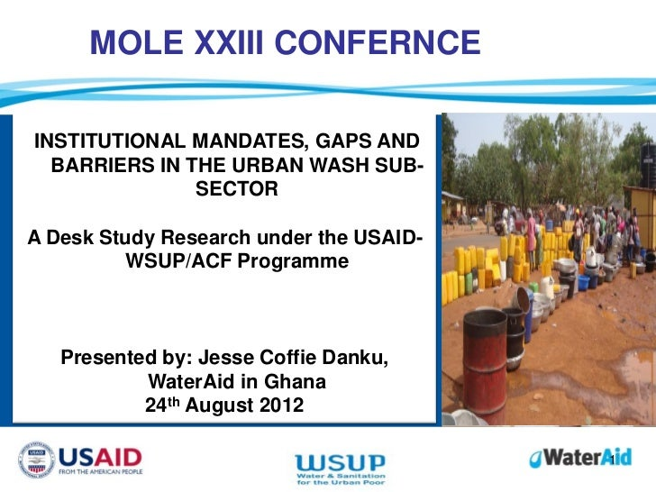 MOLE XXIII CONFERNCEINSTITUTIONAL MANDATES, GAPS AND          Whitbread the company…  BARRIERS IN THE URBAN WASH SUB-     ...