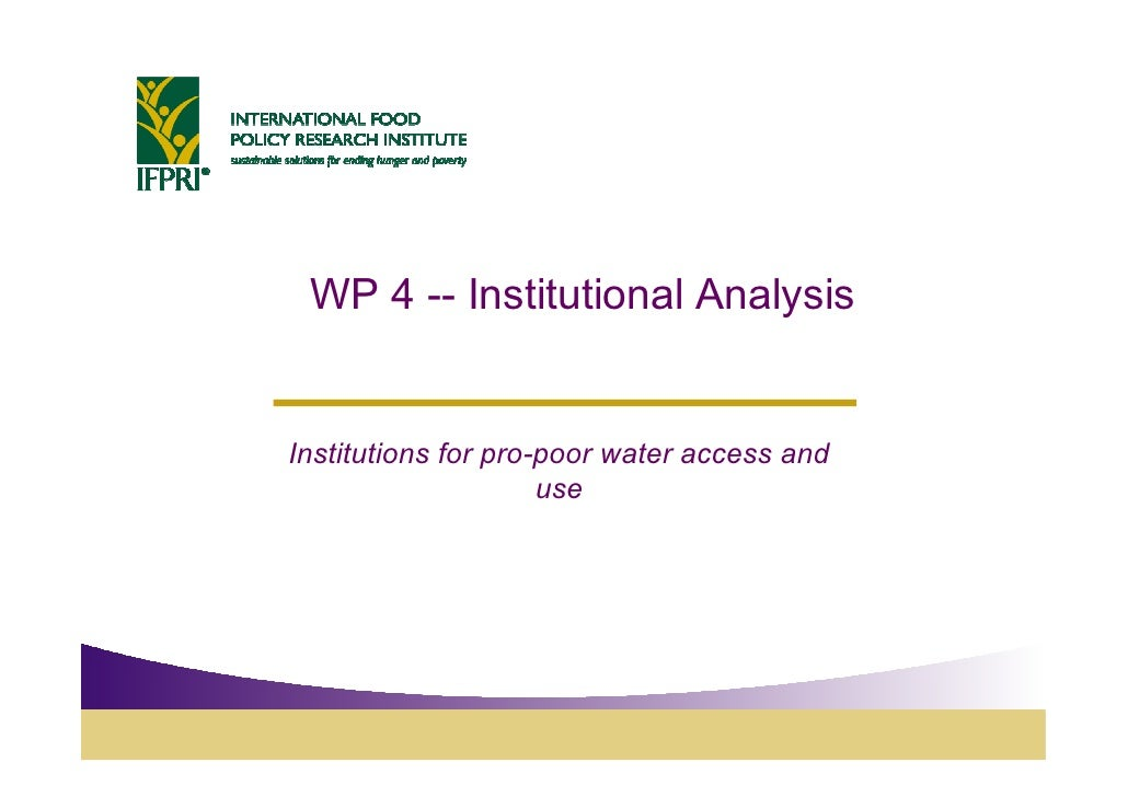 WP 4 -- Institutional Analysis   Institutions for pro-poor water access and                      use