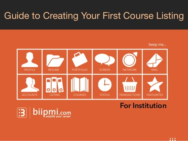 Guide to Creating Your First Course Listing  For Institution