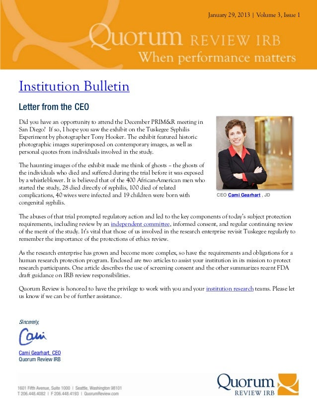 January 29, 2013 | Volume 3, Issue 1Institution BulletinLetter from the CEODid you have an opportunity to attend the Decem...