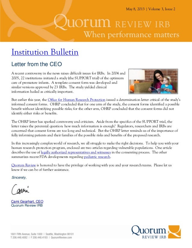 May 8, 2013 | Volume 3, Issue 2Institution BulletinLetter from the CEOA recent controversy in the news raises difficult is...