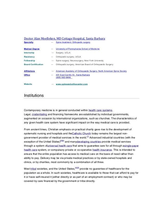 Doctor  Alan  Moelleken,  MD  Cottage  Hospital,  Santa  Barbara   Specialty  —  Spine treatme...