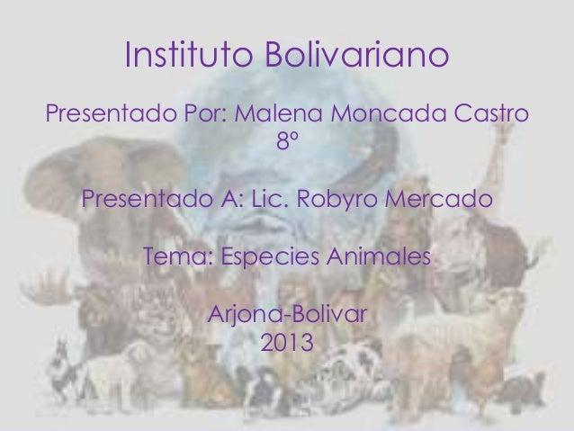 Instituto BolivarianoPresentado Por: Malena Moncada Castro8ºPresentado A: Lic. Robyro MercadoTema: Especies AnimalesArjona...