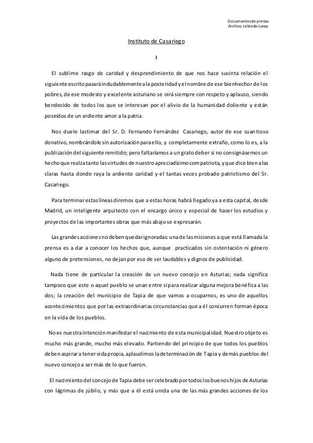 Documentos deprensa Archivo Lebredo-Lanza Instituto de Casariego I El sublime rasgo de caridad y desprendimiento de que no...