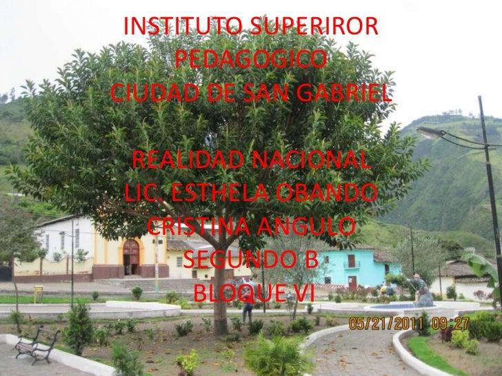 INSTITUTO SUPERIROR PEDAGOGICO CIUDAD DE SAN GABRIELREALIDAD NACIONALLIC. ESTHELA OBANDOCRISTINA ANGULOSEGUNDO BBLOQUE VI<...