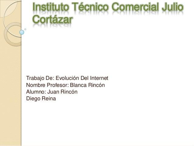 Instituto Técnico Comercial JulioCortázarTrabajo De: Evolución Del InternetNombre Profesor: Blanca RincónAlumno: Juan Rinc...