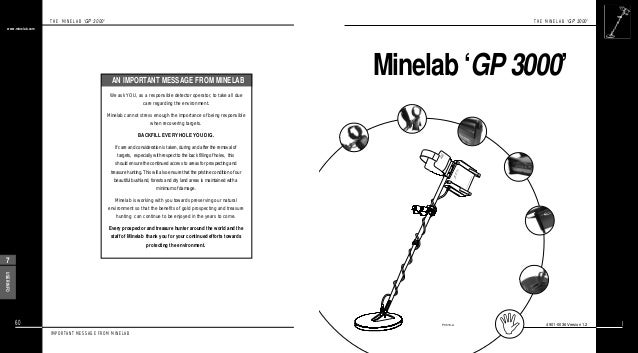 Instruction Manual Minelab GP 3000 Metal Detector English