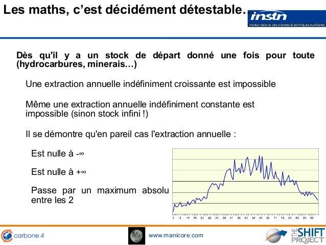 www.manicore.com Dès qu'il y a un stock de départ donné une fois pour toute (hydrocarbures, minerais…) Une extraction annu...