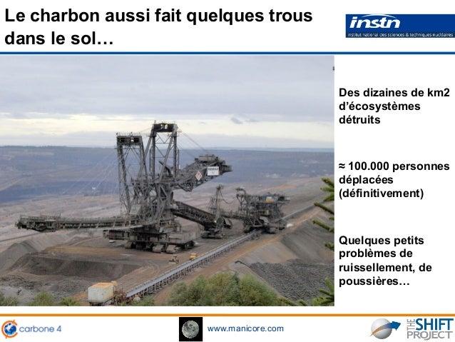 www.manicore.com Le charbon aussi fait quelques trous dans le sol… Des dizaines de km2 d'écosystèmes détruits ≈ 100.000 pe...