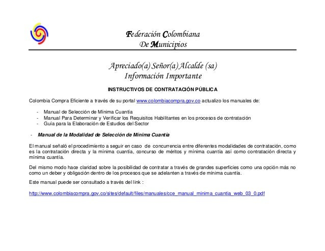 Federación Colombiana De Municipios Apreciado(a) Señor(a) Alcalde (sa) Información Importante INSTRUCTIVOS DE CONTRATACIÓN...