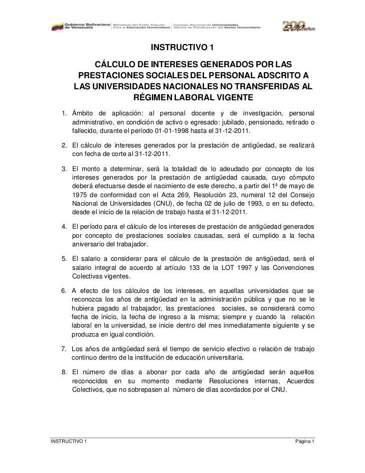INSTRUCTIVO 1            CÁLCULO DE INTERESES GENERADOS POR LAS         PRESTACIONES SOCIALES DEL PERSONAL ADSCRITO A     ...
