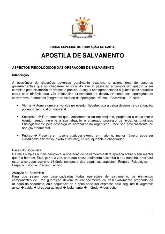 CURSO ESPECIAL DE FORMAÇÃO DE CABOS                   APOSTILA DE SALVAMENTOASPECTOS PSICOLÓGICOS DAS OPERAÇÕES DE SALVAME...