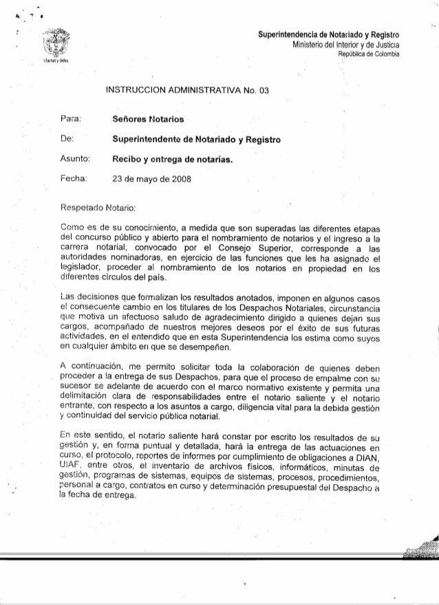 Superintendencia de Notariado y Registro Ministerio del Interior y de Justicia República de Colombia INSTRUCCION ADMINISTR...
