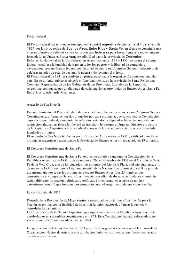 Instrucción Cívica                                             Bolilla I  Pacto Federal  El Pacto Federal fue un tratado s...
