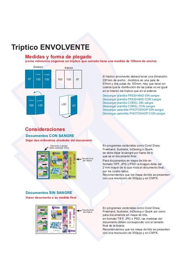 Triptico ENVOLVENTE 100100 Contra Portada 97 Exterior Interior 100 100 97 100 Contra 100 Portada 100 97 Medidas y forma de...