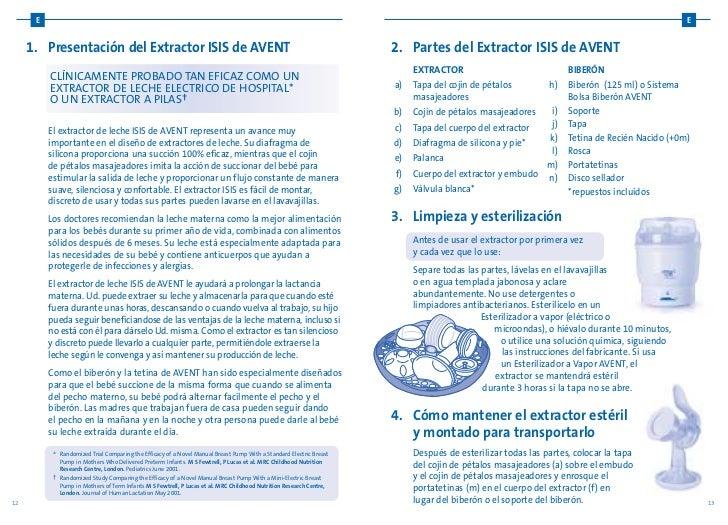Instrucciones Avent-extractor manual de leche