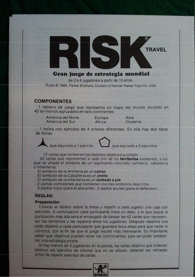Instrucciones Juego De Mesa Risk De Borras Ano 1987