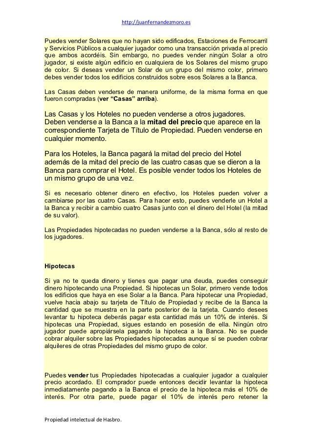 Instrucciones Reglas O Normas Del Monopoly Standard