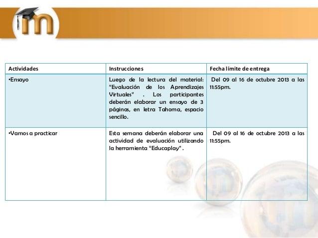 """Actividades Instrucciones Fecha límite de entrega •Ensayo Luego de la lectura del material: """"Evaluación de los Aprendizaje..."""