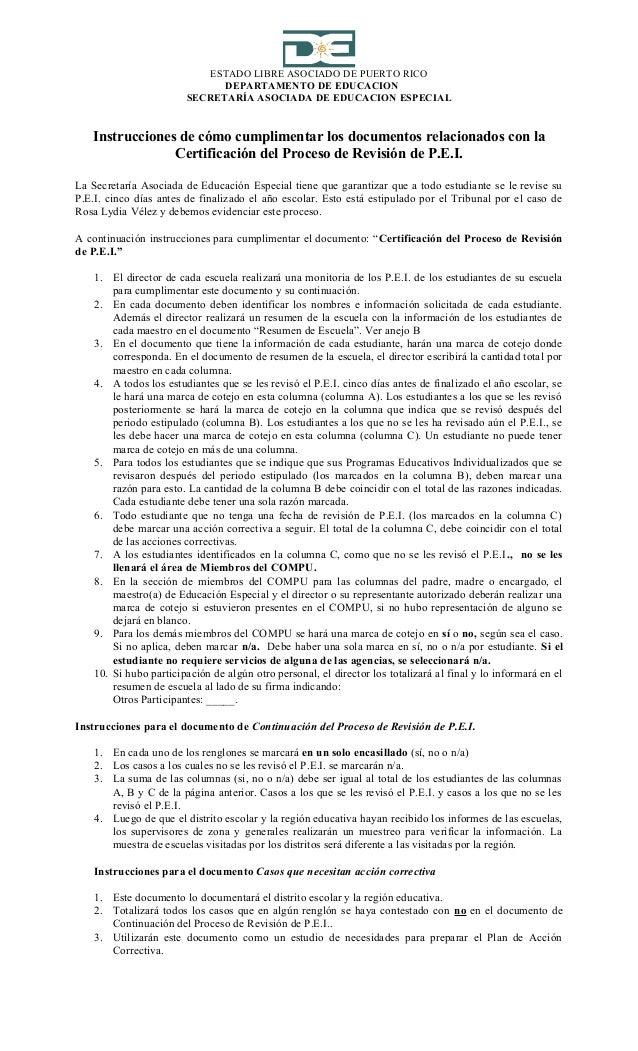 ESTADO LIBRE ASOCIADO DE PUERTO RICODEPARTAMENTO DE EDUCACIONSECRETARÍA ASOCIADA DE EDUCACION ESPECIALInstrucciones de cóm...