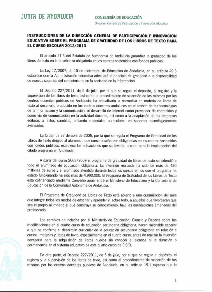 Instrucciones del programa de gratuidad de libros de texto de Andalucía para el curso 2012-13