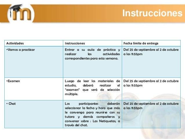 Instrucciones Actividades Instrucciones Fecha límite de entrega •Vamos a practicar Entrar a su aula de práctica y realizar...
