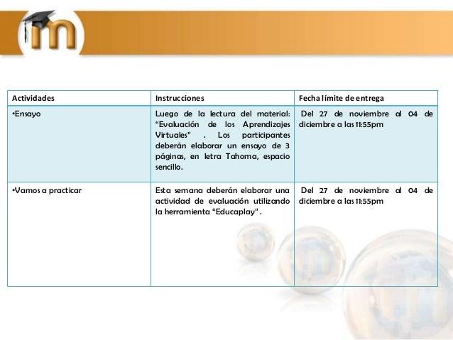 """Actividades  Instrucciones  Fecha límite de entrega  •Ensayo  Luego de la lectura del material: """"Evaluación de los Aprendi..."""