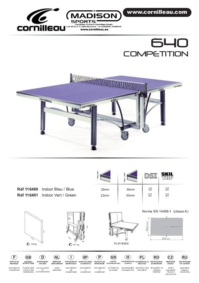 www.cornilleau.com  COMPETITION  Réf 116400 Indoor Bleu / Blue 22mm 50mm R R  Réf 116401 Indoor Vert / Green 22mm 50mm R R...