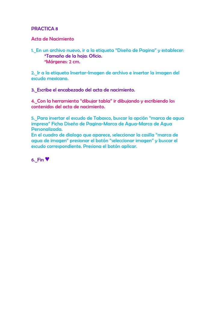 Instrucciones para el acta de nacimiento