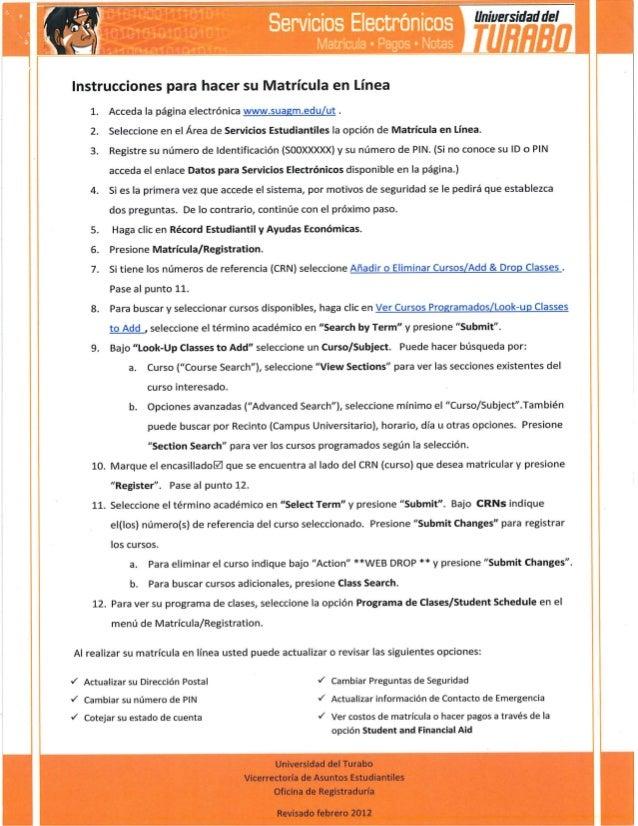 Instrucciones para hacer su matrícula en línea   universidad del turabo en isabela