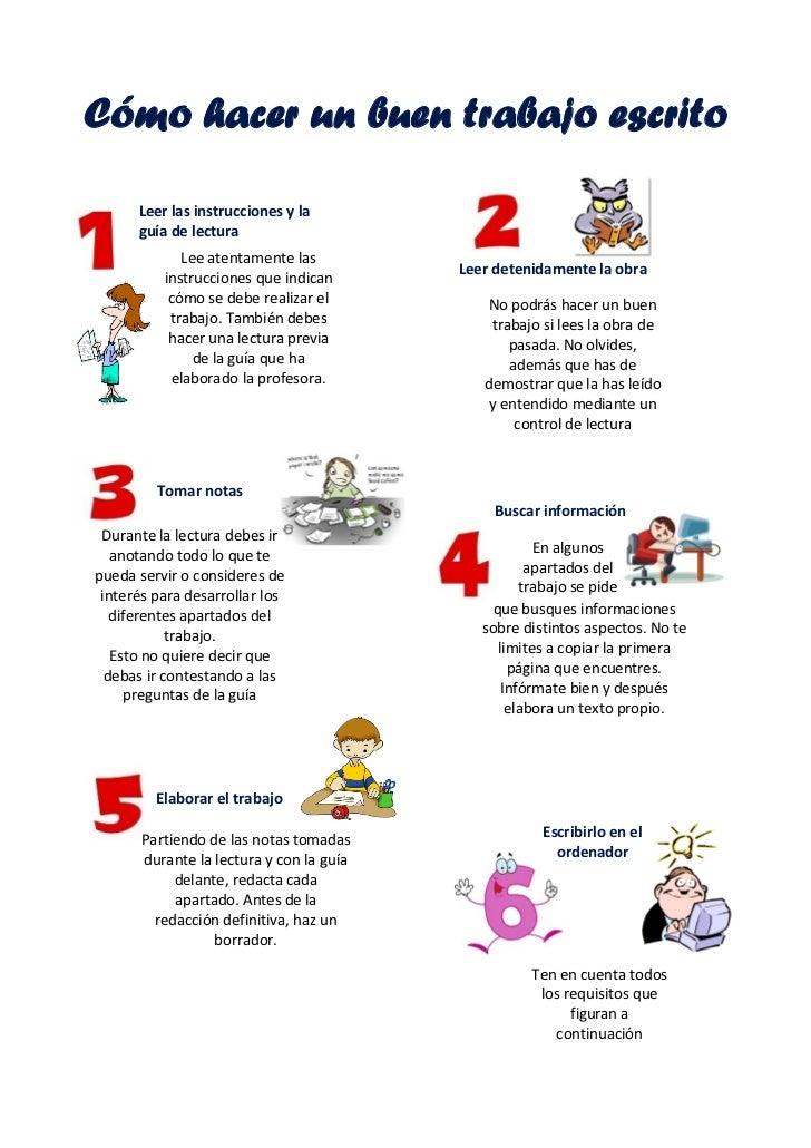 Cómo hacer un buen trabajo escrito      Leer las instrucciones y la      guía de lectura             Lee atentamente las  ...