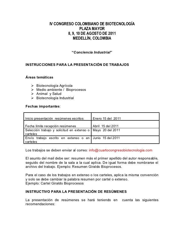 IV CONGRESO COLOMBIANO DE BIOTECNOLOGÍA                                PLAZA MAYOR                        8, 9, 10 DE AGOS...