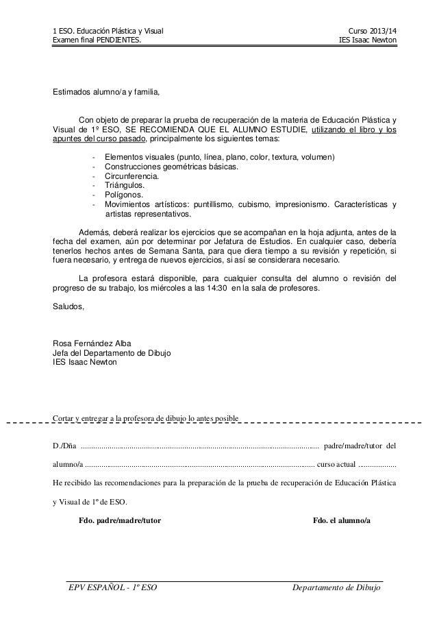 1 ESO. Educación Plástica y Visual Curso 2013/14 Examen final PENDIENTES. IES Isaac Newton EPV ESPAÑOL - 1º ESO Departamen...
