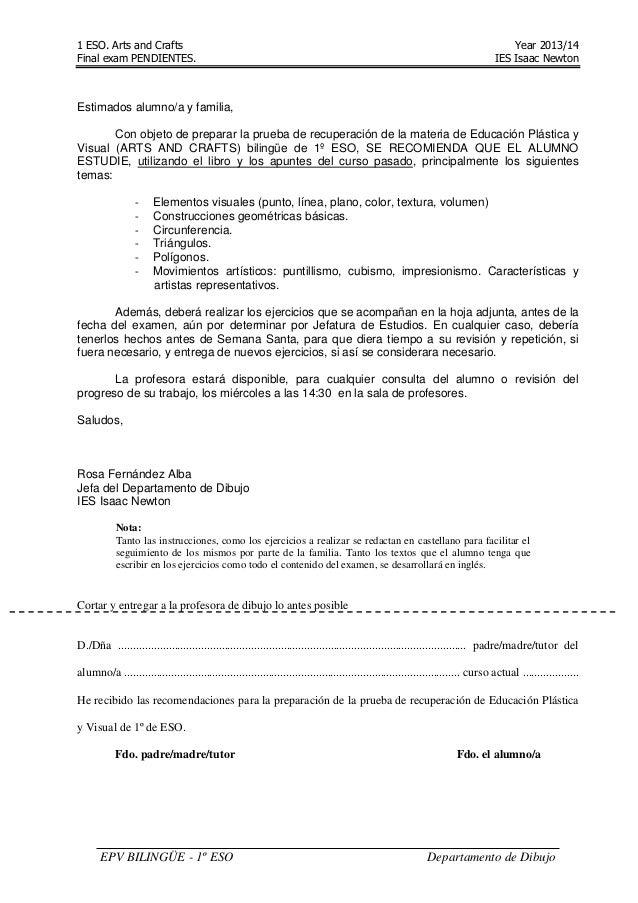 1 ESO. Arts and Crafts Year 2013/14 Final exam PENDIENTES. IES Isaac Newton EPV BILINGÜE - 1º ESO Departamento de Dibujo E...