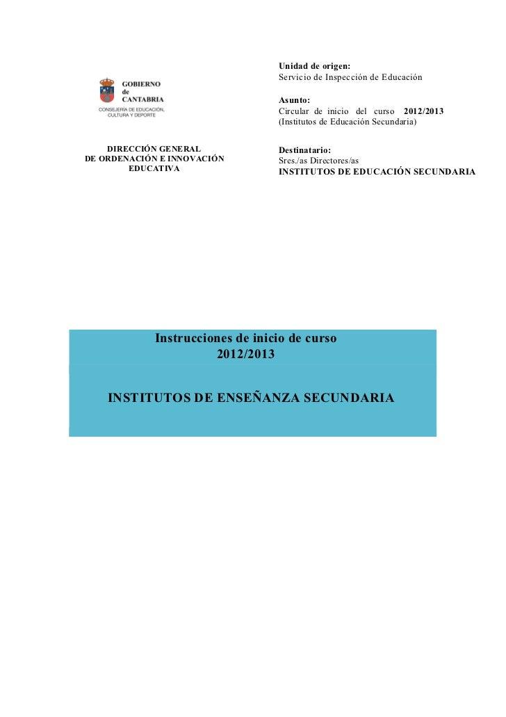 Unidad de origen:                                  Servicio de Inspección de Educación                                  As...