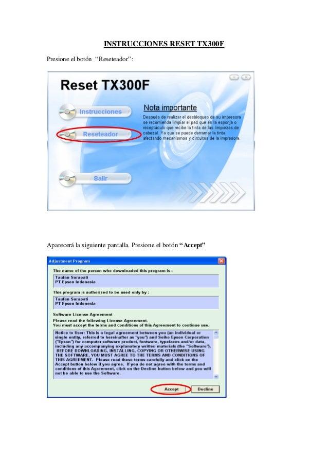 """INSTRUCCIONES RESET TX300F Presione el botón """"Reseteador"""": Aparecerá la siguiente pantalla. Presione el botón """"Accept"""""""