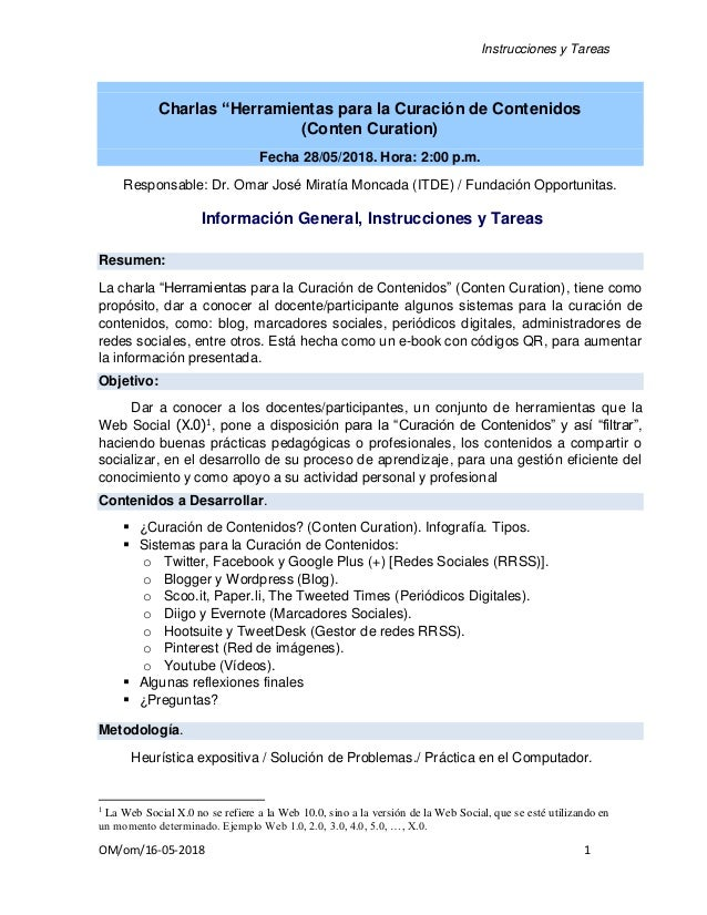 """Instrucciones y Tareas OM/om/16-05-2018 1 Charlas """"Herramientas para la Curación de Contenidos (Conten Curation) Fecha 28/..."""