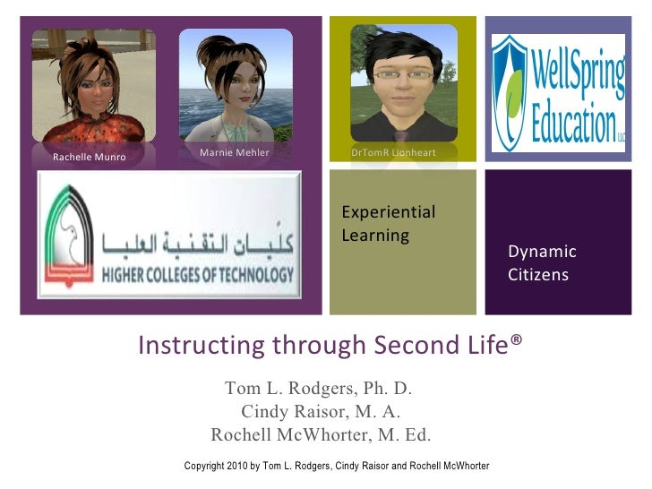 Instructing through Second Life® Experiential Learning Dynamic Citizens Rachelle Munro Marnie Mehler DrTomR Lionheart Tom ...