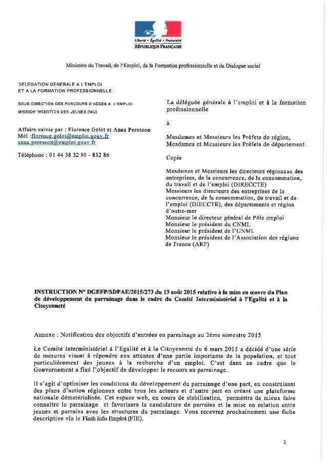 Instruction DGEFP du 13 août 2015 relative à la mise en oeuvre du Plan de développement du parrainage dans le cadre du Com...
