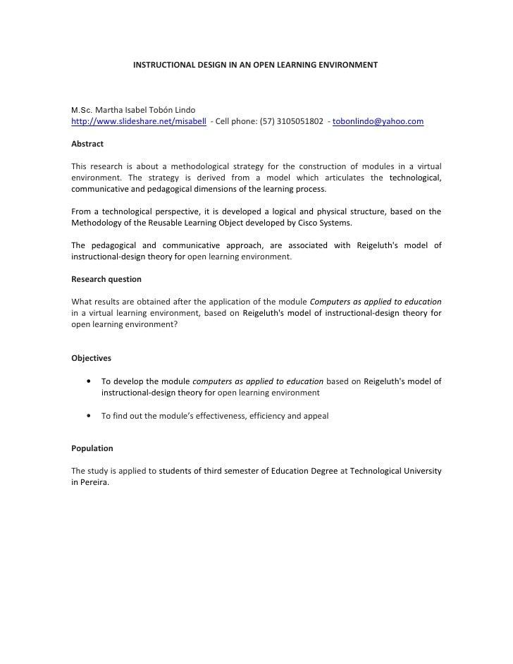 INSTRUCTIONAL DESIGN IN AN OPEN LEARNING ENVIRONMENT    M.Sc. Martha Isabel Tobón Lindo http://www.slideshare.net/misabell...