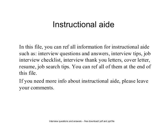 Attractive Interview Questions And Answers U2013 Free Download/ Pdf And Ppt File Instructional  Aide In This ...