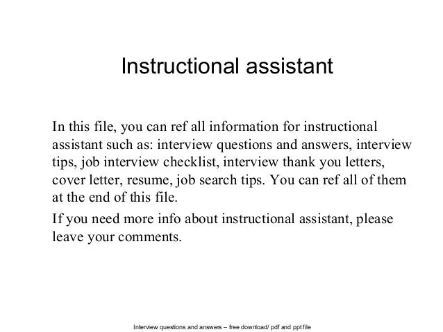 instructional assistant